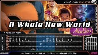 (Aladdin) A Whole New World - Fingerstyle Guitar Cover | TAB Tutorial
