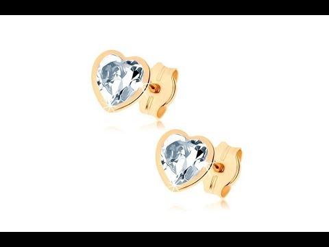 8e41252f4 Šperky - Náušnice zo žltého 9K zlata - číre srdiečko z brúseného zirkónu,  úzky obrys