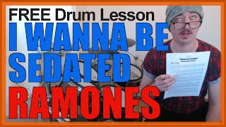 ★ I Wanna Be Sedated (Ramones) ★ FREE Video Drum Lesson | How To Play SONG (Marky Ramone)