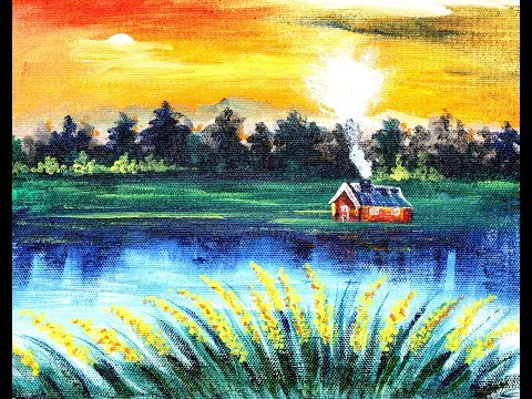 Paint Easy Sunset Landscape In Acrylics | Step-By-Step Tutorial For Beginners