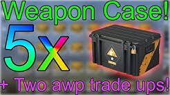 CS:GO Case Opening! 5x Weapon Case +Awp asiimov & Awp lightning strike Trade up!