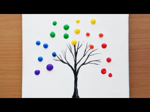 Rainbow Tree Acrylic Painting For Beginners 42 How To Paint A Simple Acrylic Painting Youtube