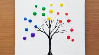 Rainbow Tree - Acrylic Painting for Beginners #42  How to paint a Simple Acrylic Painting