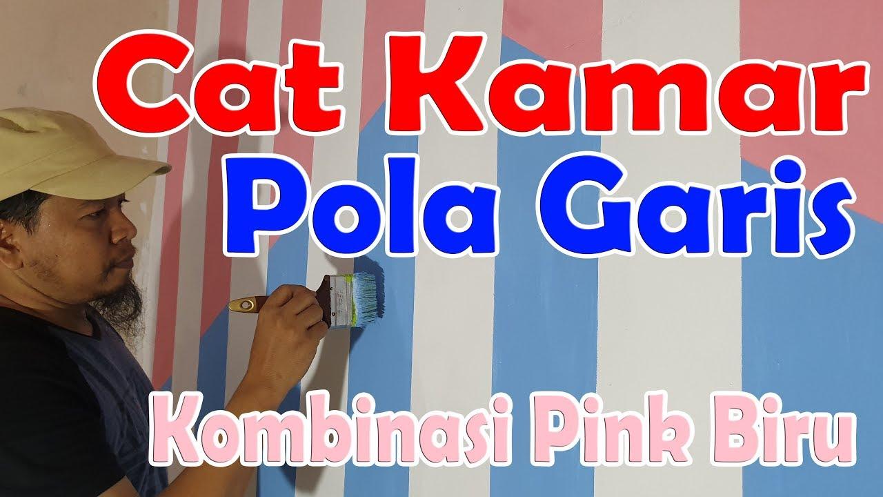 Cat Kamar Garis Garis Pink Biru