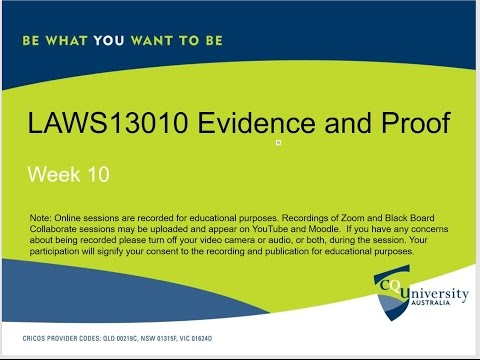 LAWS13010_10 Evidence and Proof Week 10: 17-05-2017 Circumstantial Evidence