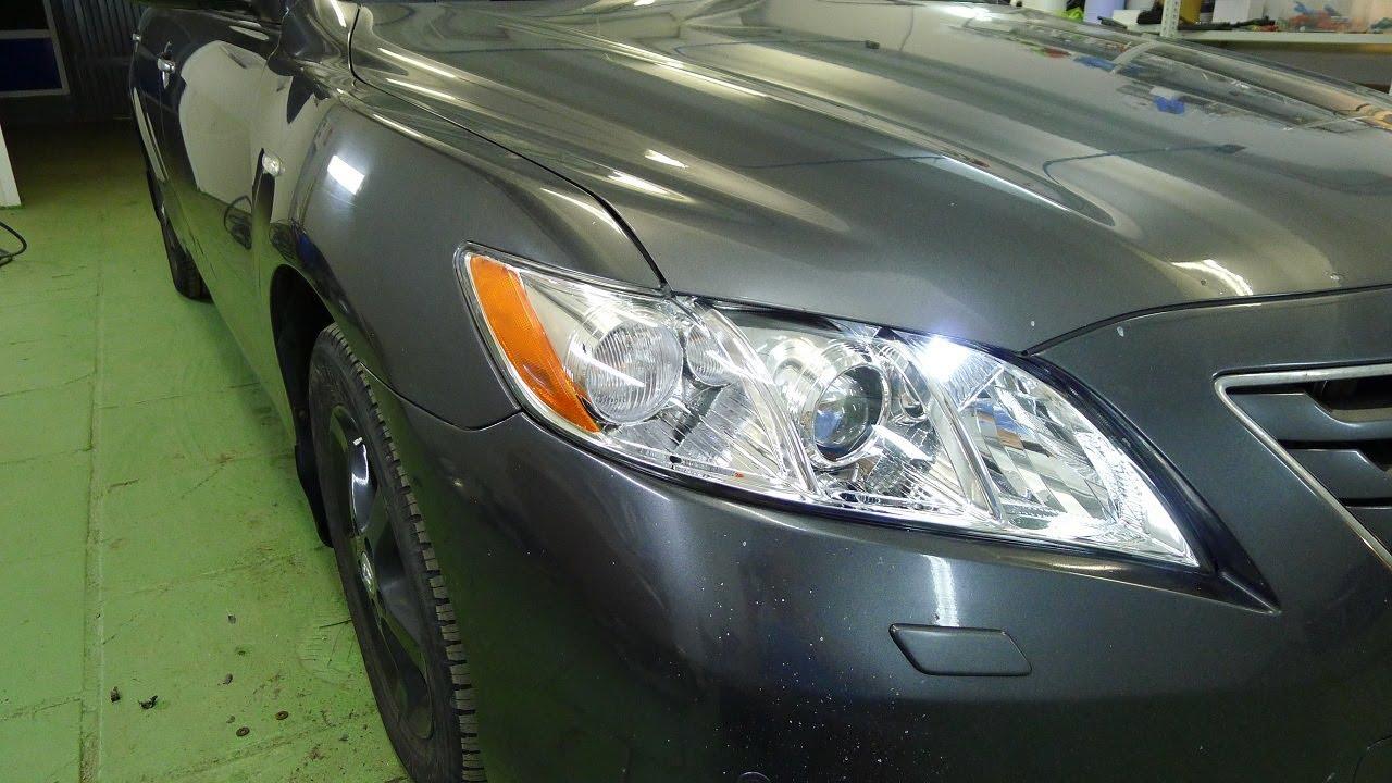 Toyota Camry XV40 ремонт фар  Установка светодиодных линз, замена стекла фары