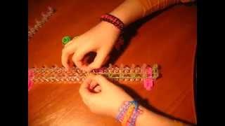 Идеи рукоделия. Урок 1. Плетем на станке браслет двойная лесенка из резинок Rainbow Loom .