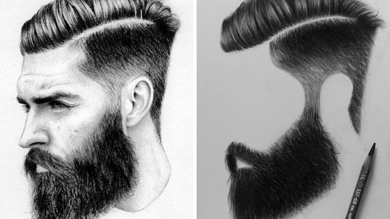 draw male hair with charcoal