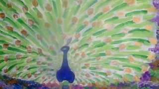 Рисование павлина красками, для вышивки бисером. Продолжение(Как я рисую павлина. Часть 2- набросок, раскраска красками. Подмалёвок станет основой неповторимой бисерной..., 2015-02-16T18:17:33.000Z)