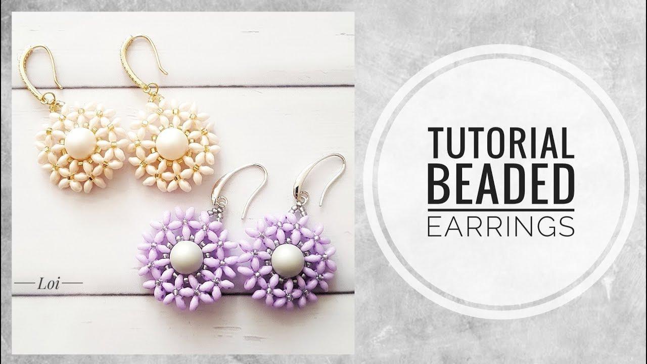 #МК - Цветочные серьги с твином | #Tutorial - Flower earrings with twin