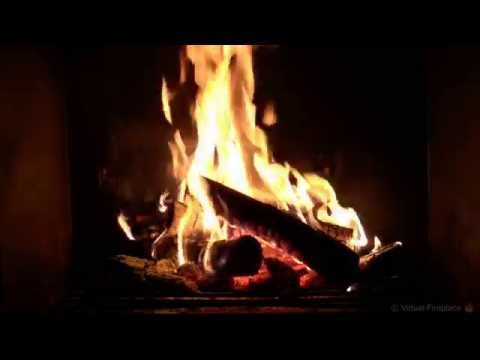 Virtual Fireplace: Soft Crackling Fireplace with Piano Backg
