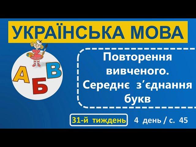 1 клас. Українська мова. Повторення вивченного. Середнє зꞋєднання букв.