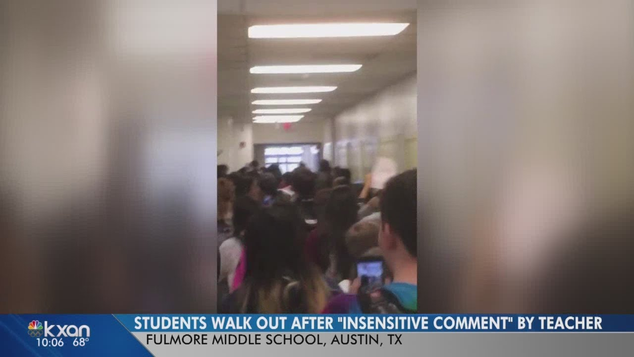 VIDEO: Austin middle school students walk out in protest of teacher's comment