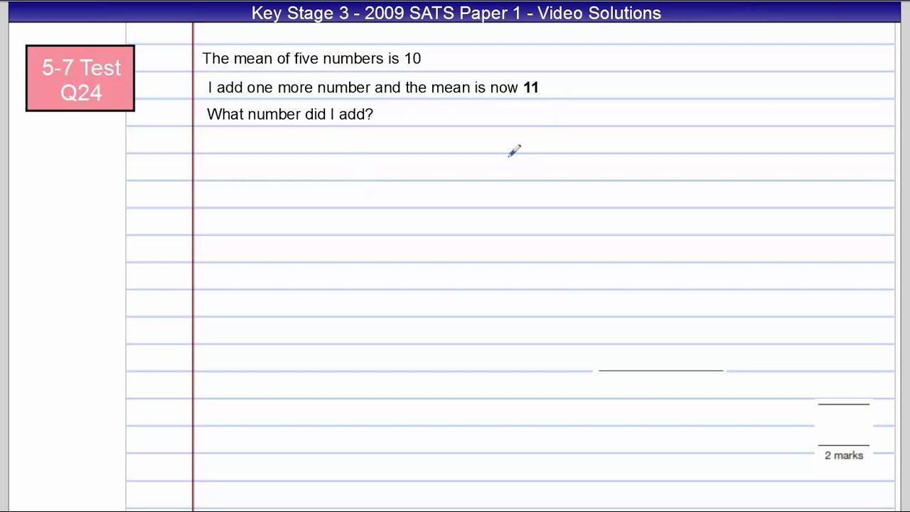 key stage 3 sats 2009 paper 1 l5 7 q20 28 youtube rh youtube com KS1 Maths Games Addind and Subracting KS1 Maths