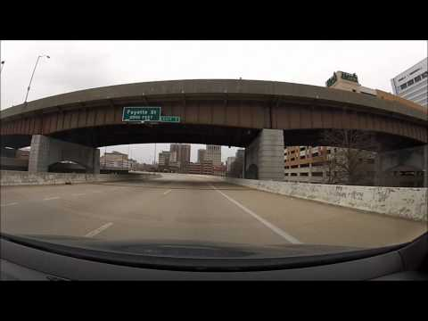 Cruising I-83 South an downtown Baltimore, Maryland