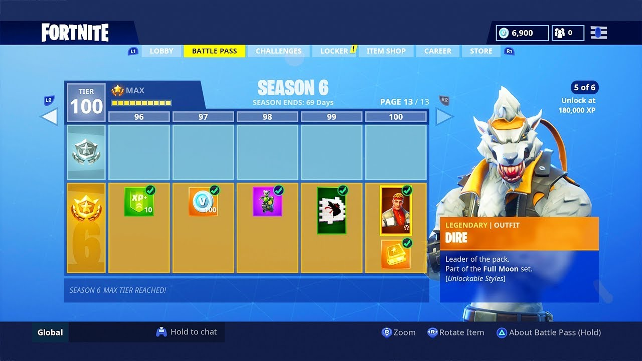 Season 6 Battle Pass All 100 Tiers New Season 6 Battle Pass Tier