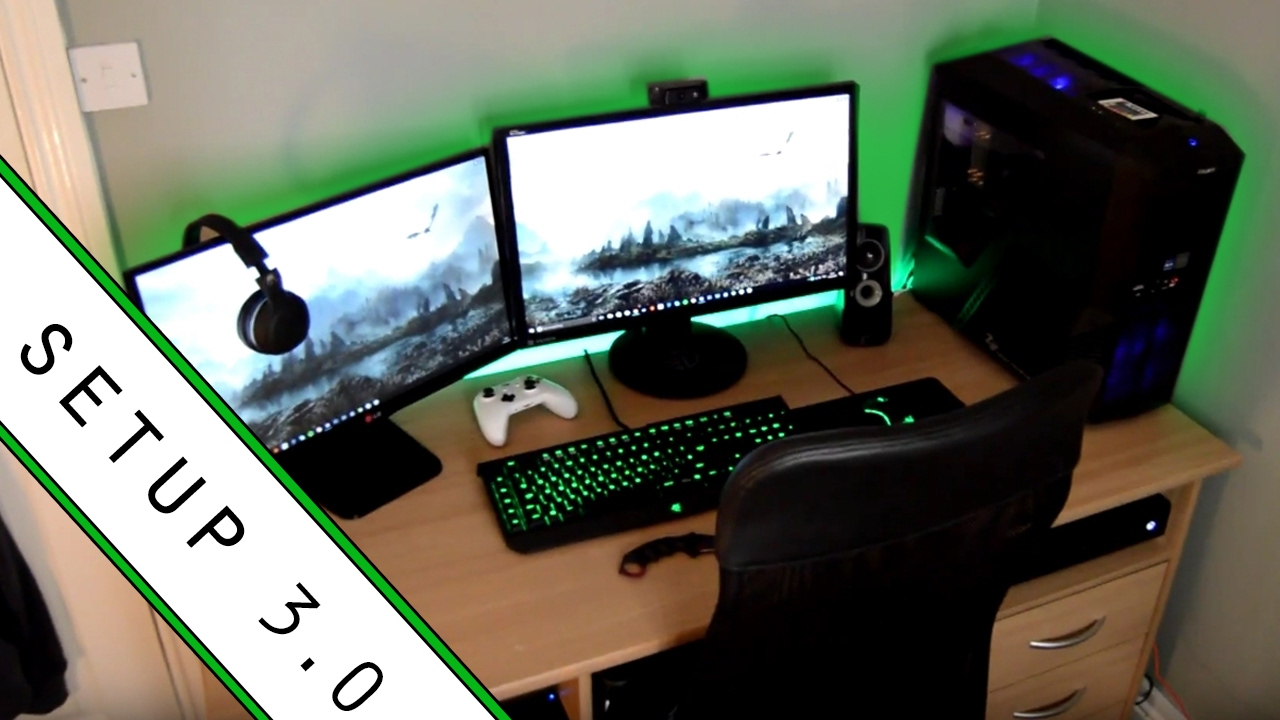 Gaming setup room tour 2017 small room setup youtube for Small apartment setup