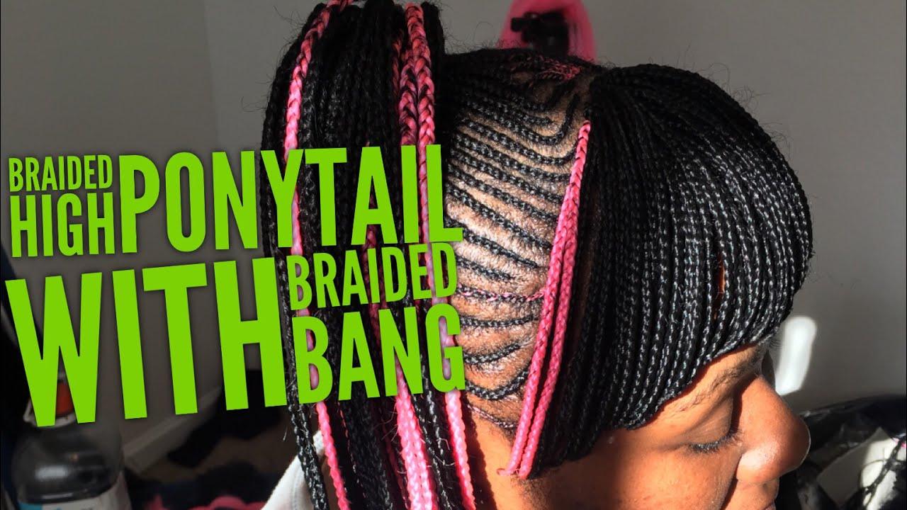 Nicki Minaj Braided High Ponytail With A Braided Bang