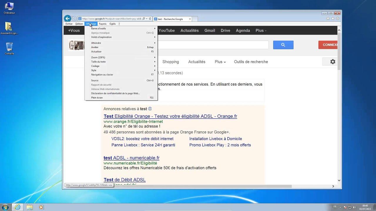 Agrandir ou r duire l 39 affichage dans internet explorer for Affichage fenetre miniature windows 7