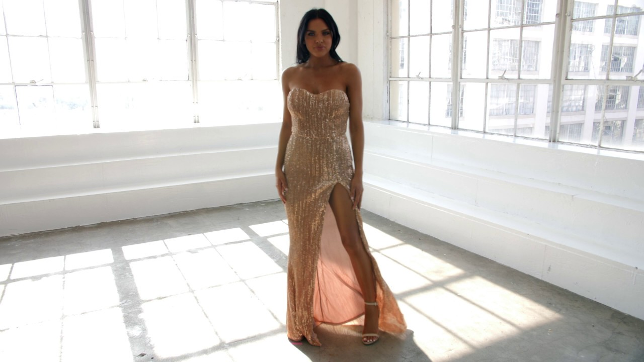 11479c53a018 INDIE XO SHOW ME SOME LOVE CHAMPAGNE SEQUIN STRAPLESS SWEETHEART NECK HIGH  SLIT FISHTAIL MAXI DRESS