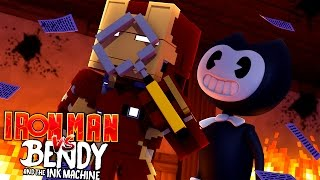 BENDY AND THE INK MACHINE ATTACKS IRONMAN AND THE LITTLE CLUB HQ | Minecraft
