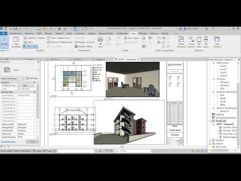 Học Revit 2021- Bai 4: Tạo mặt cắt, tạo view nhìn, dàn trang định tỷ lệ và in bản vẽ trong Revit