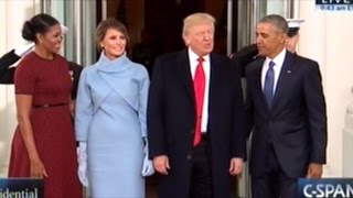 barack and michelle obama welcome donald and melania trump to the white house
