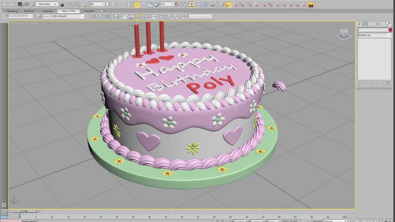 3d model of birthday cake 3ds max YouTube