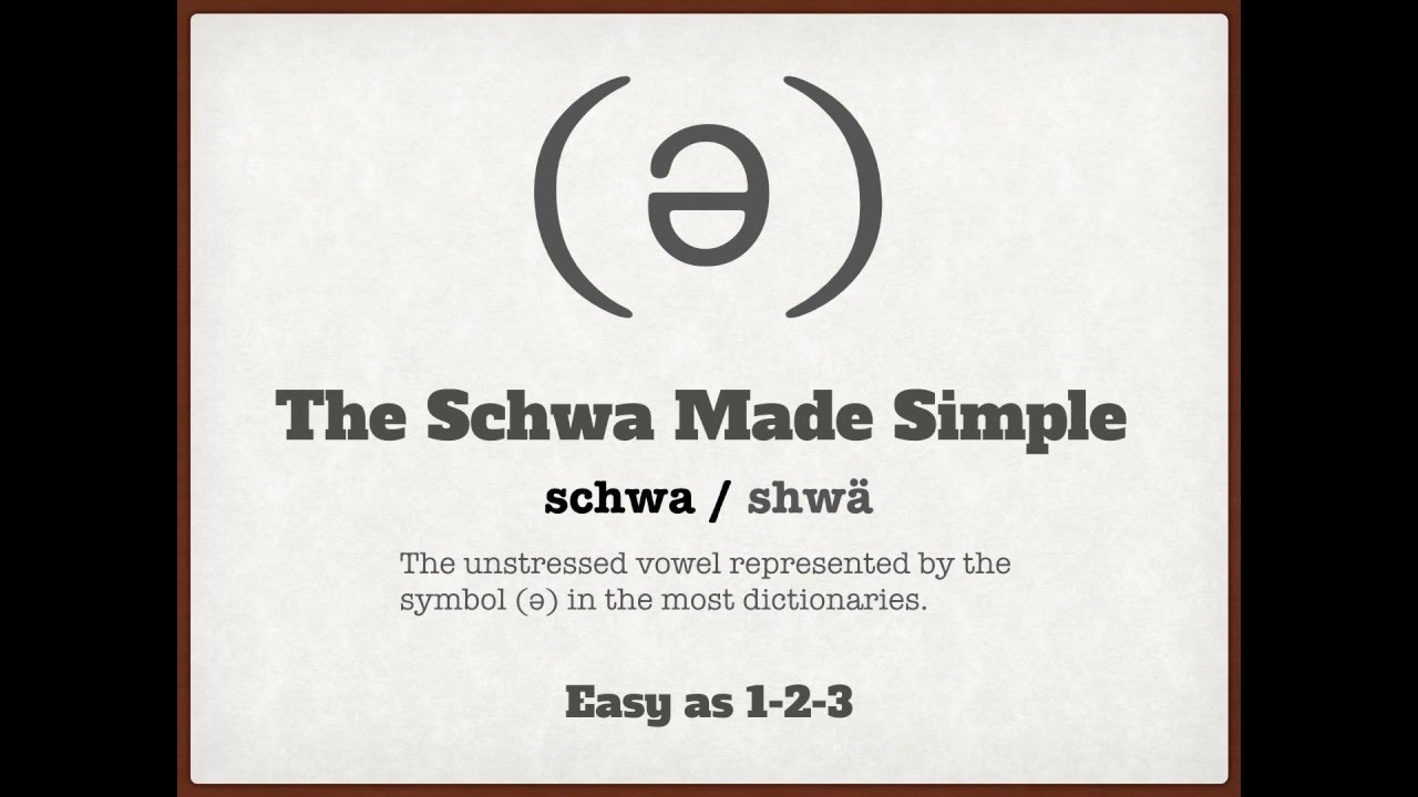 The Schwa Made Simple Youtube