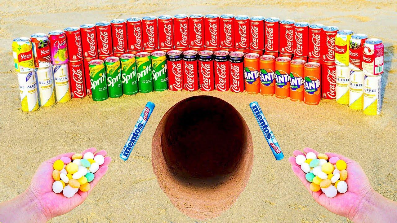 Experiment: Coca Cola cans, Fanta, Sprite, Soda vs Mentos in the big underground hole!