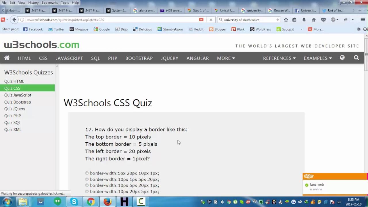 W3Schools CSS Quiz Walkthrough - YouTube
