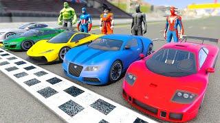 Race Challenge Superheroes Cars Spider-Man Black Panther Hulk Captain America Goku - GTA V MODS