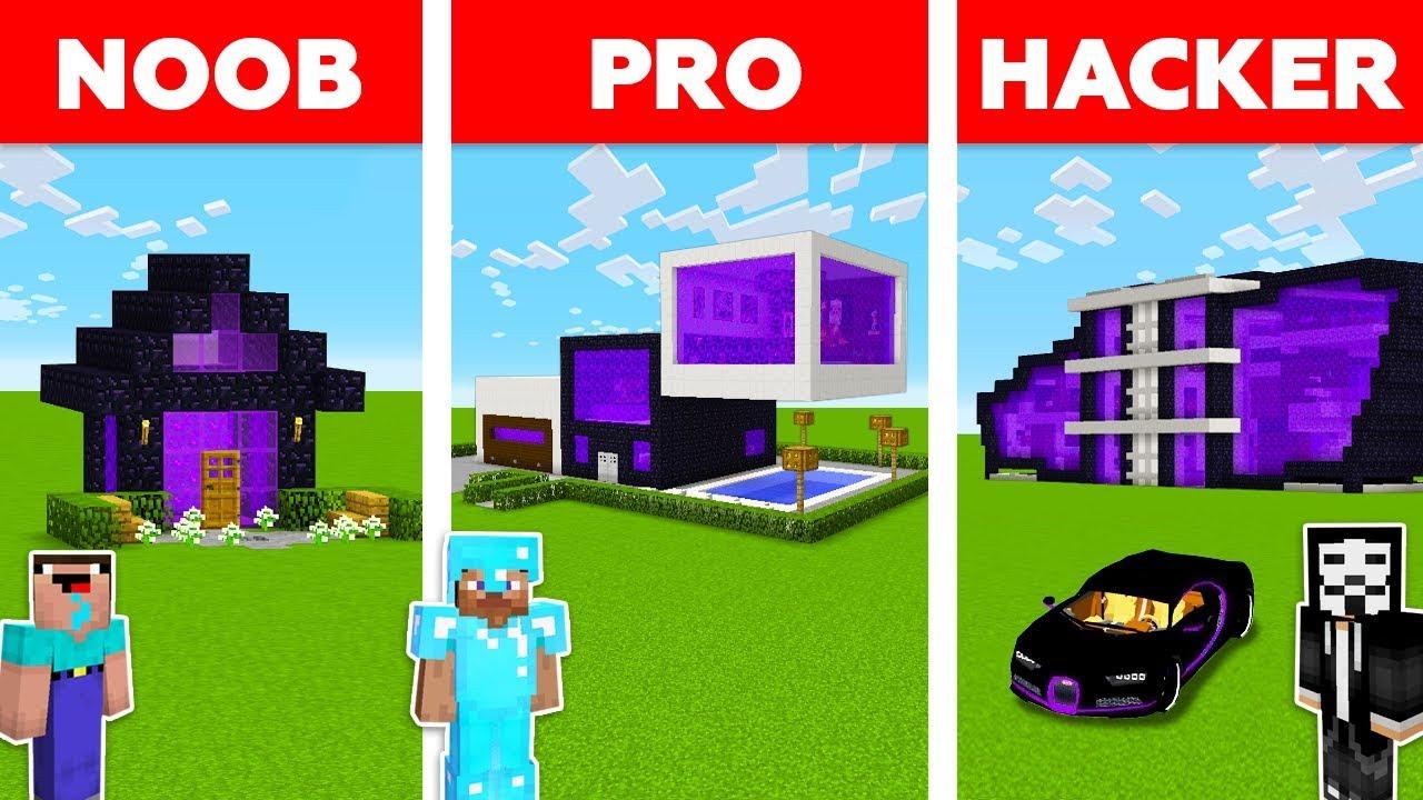Minecraft Battle Noob Vs Pro Vs Hacker Portal House Build Challenge In Minecraft Animation Youtube