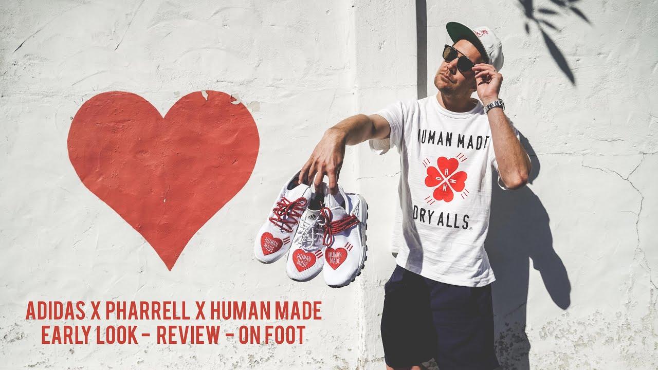 contar hasta partícula Puñado  EARLY LOOK* Adidas x Pharrell x Human Made Pack - Hu NMD / Solar Hu / Tennis  Hu (Review + On Foot) - YouTube