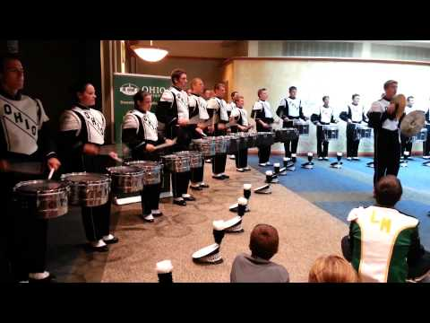 Ohio University Marching 110 Drumline Warmups and Cadence Sequence @ Baker Center 9/20/2014