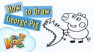 How to draw George Peppa Pig drawing 123 Kids Fun