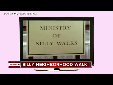 WATCH: Sign in front of local home encourages people to 'Silly Walk' from Monty Python