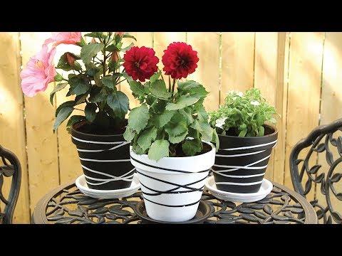 🌺🌼Painted Rubber Band Terra Cotta Flower Pots | Garden DIY🌺🌼