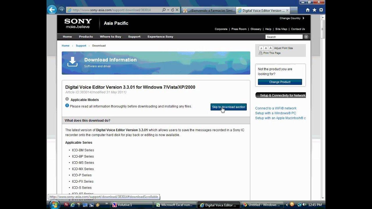 descargar driver grabadora sony icd-px720