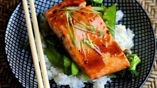 Honey Teriyaki Glazed Salmon With Stir Fry Veggies