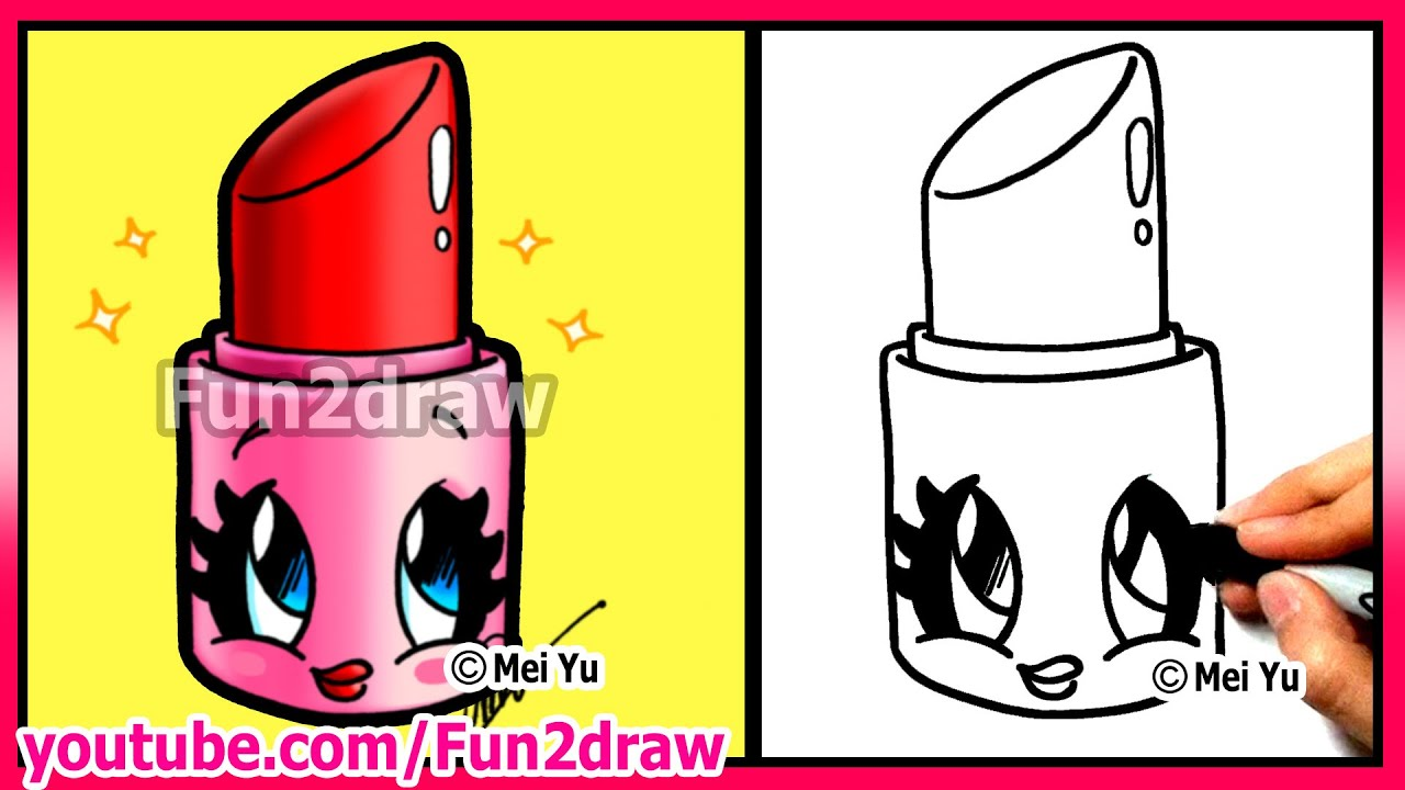 How To Draw Cartoons  Cute Lipstick  Makeup & Cosmetics Tutorial Fun2draw  Art  Youtube