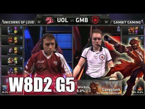 Unicorns Of Love Vs Gambit Gaming | S5 EU LCS Summer 2015 Week 8 Day 2 | UOL Vs GMB W8D2 G5
