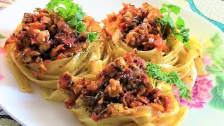 невероятно вкусные гнезда из макарон с куриным филе -   легко, просто и быстро!