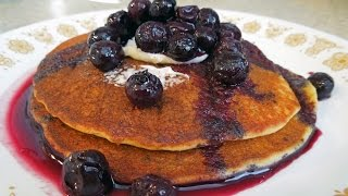Pancakes & Blueberry Syrup by The Deglutenizer
