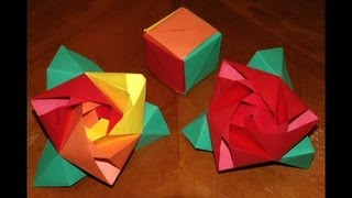 Origami Rose Cube Tutorial - How To Make An Origami Magic Rose Cube