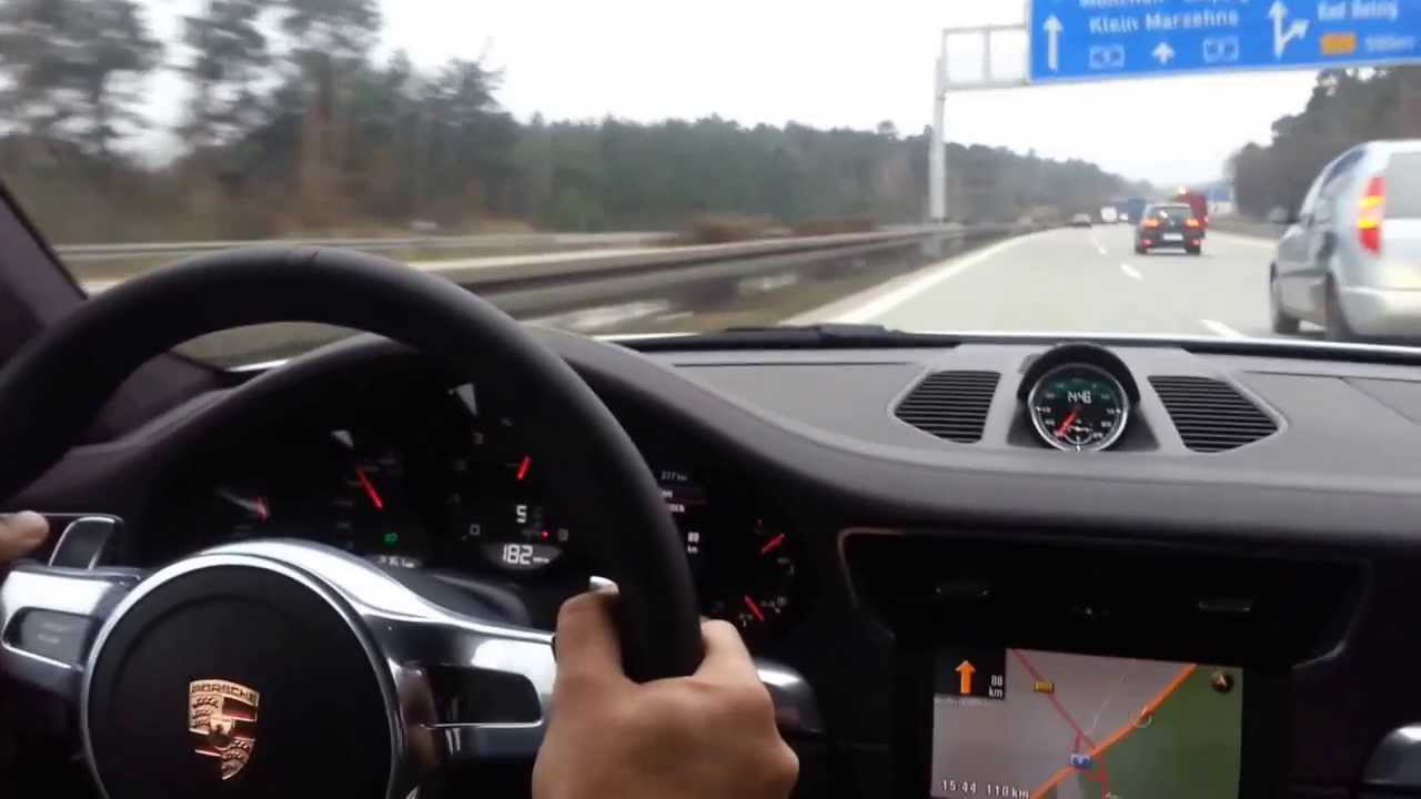 Porsche 911 991 carrera 4s autobahn 293kmh 182mph youtube for Interieur 991
