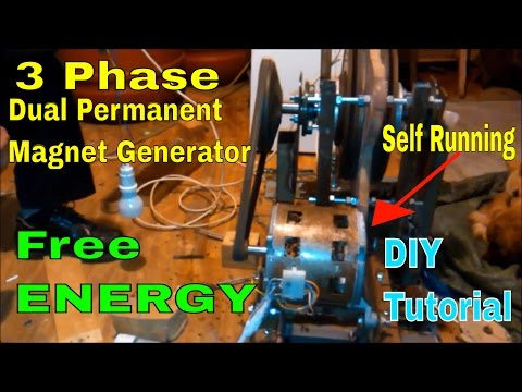 DIY - 3 Phase Dual Permanent Magnet Self Running FREE ENERGY GENERATOR 2017 - Tutorial - part1