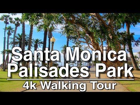 Santa Monica Palisades Park Walking Tour| 4k DJI Mobile | Ambient Music