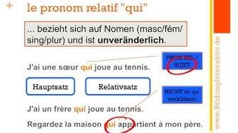 les pronoms relatifs: qui / que / où (Teil 1)