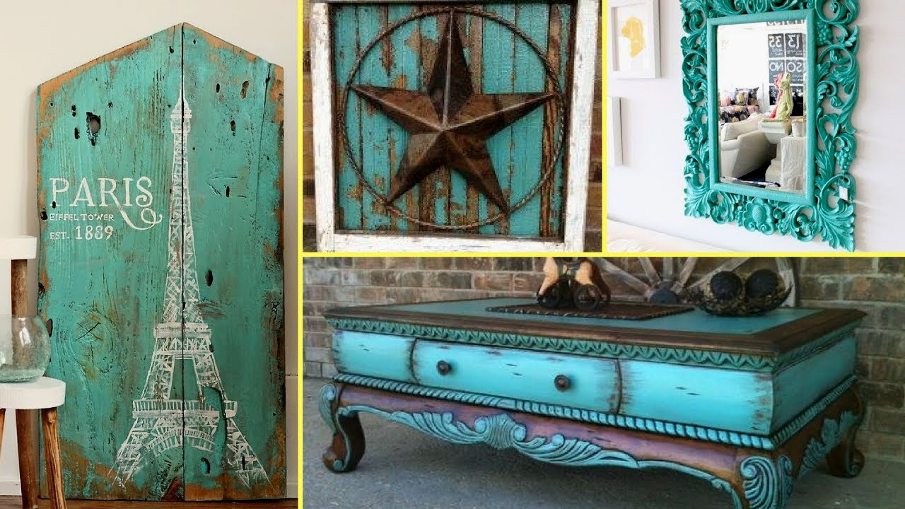 DIY Shabby Chic Distressed turquoise Old furniture decor